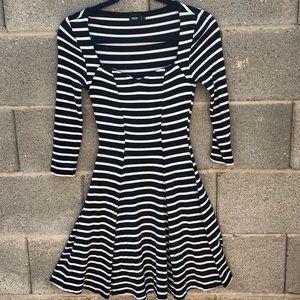 Striped black and white skater dress